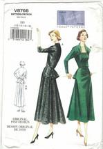 Vogue Vintage Model Pattern 8768 Back Peplum Dress 1950s Size 12 14 16 1... - $14.69