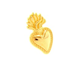 18K YELLOW GOLD SMALL 17mm SACRED HEART OF JESUS PENDANT, MADE IN ITALY - $205.92
