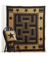 New Twin Delaware Star Quilt farmhouse bedding patchwork Black & Tan - $84.64