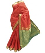 ASB3571 Red and Green Art Silk Saree Indian Art Silk Sari Curtain Fabric - $36.08
