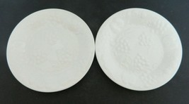 Flourish Salad Plates Gibson Designs White Embossed Center Grapes Fruit Two - $16.71