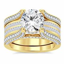 14K Yellow Gold PL 5ct  Clear Sim Diamonds Interchangable Ring With Band - $79.99