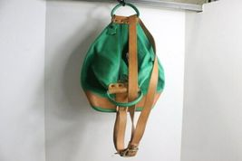 Gorgeous Valentina Green & Brown Leather Backpack Bag Purse Made Italy image 3