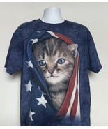 The Mountain Patriotic Kitty Cat Stars & Stripes Flag T Shirt Mens XL - $21.73