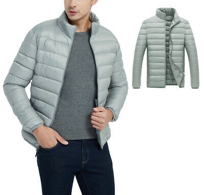 Men's Classic Lightweight Packable Stand Collar Grey Puffer Jacket Size Small
