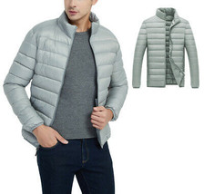 Men's Classic Lightweight Packable Stand Collar Grey Puffer Jacket Size Small image 1