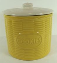 Basketweave pattern Watt Cookie Jar 101 Yellow with White Lid  - $74.24