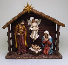 13.75 Inch Holy Family in Nativity Stable Resin Statue Figurine - $98.01