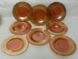 """8 Federal Normandie Marigold Carnival Glass Dessert Bread Plate 6"""" Latti... - $39.99"""