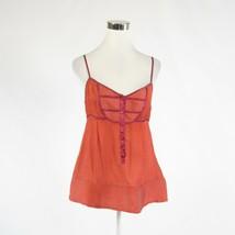 Coral orange white pinstripe 100% silk MARC JACOBS spaghetti strap cami ... - $44.99