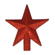 Christmas Tree Topper Mini Star Red Glittered 4 Inches Embellished Decor... - $17.99