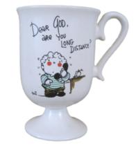 "Dear God Kids coffee tea cocoa mug vintage 1982 ""Are you long distance"" Enesco - $14.83"