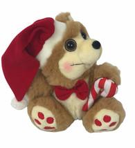 "MTY International Christmas Bear 10"" Plush Candy Came Santa Hat Rosy Che... - $9.90"
