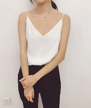 Womens V-neck Chiffon Tank White Black Sleeveless Bridesmaid Chiffon Top US0-US8
