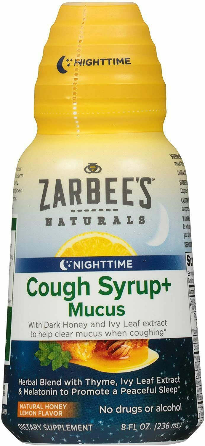 Primary image for  Zarbee's Naturals Cough Syrup + Mucus Nighttime with Melatonin, Honey Lemon