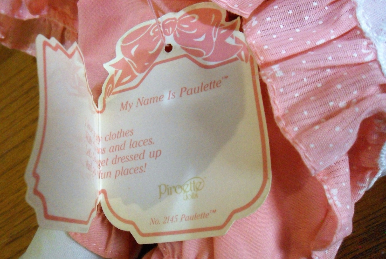 Vintage 1984 PAULETTE Piroette APPLAUSE Plush RAG DOLL-w TAGS~2145