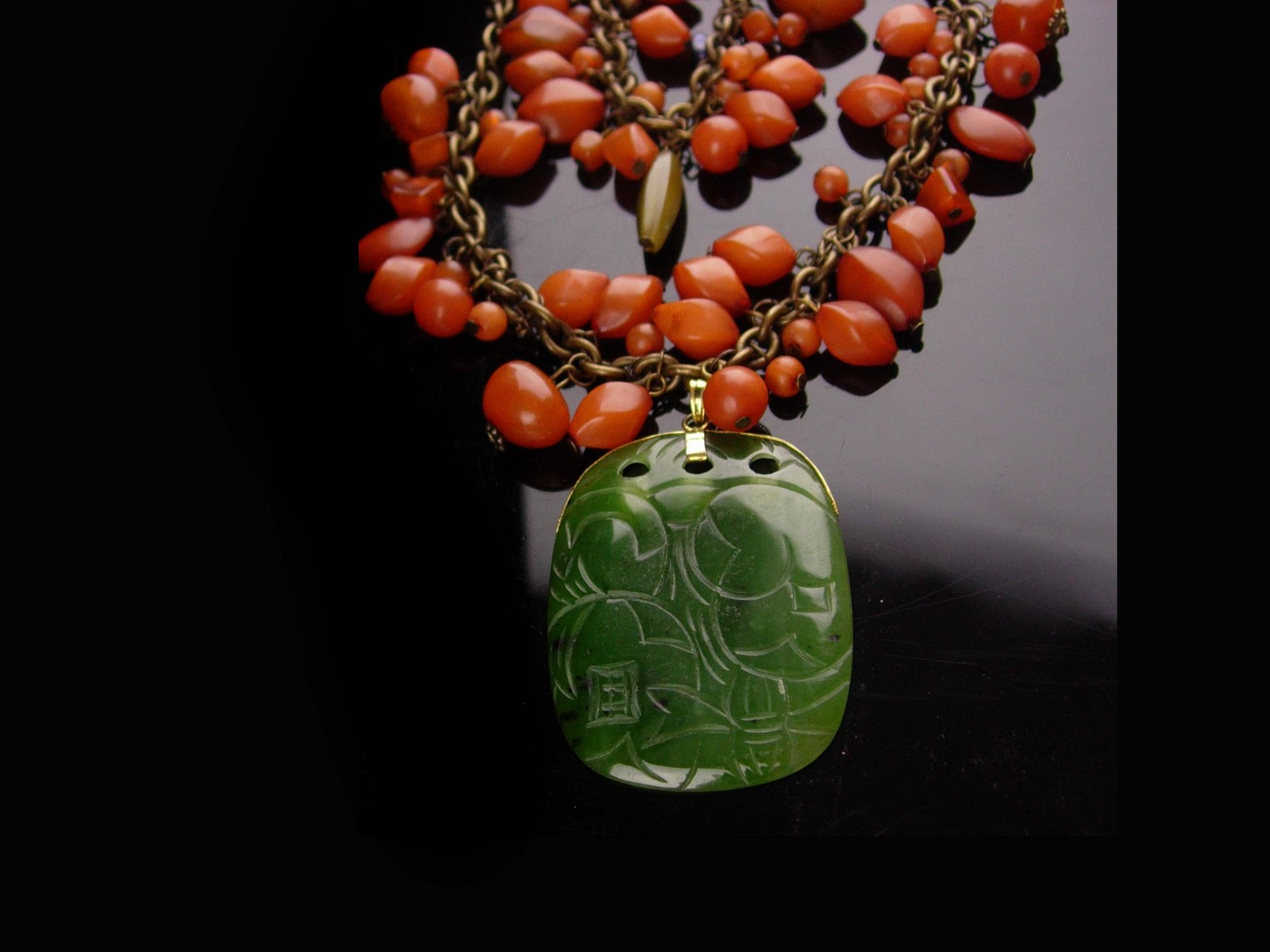 Chinese Necklace and bracelet - Protective Talisman - vintage carved jade pendan