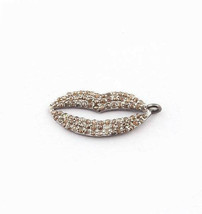 Real Pave Diamond Lip Charm Pendant Solid 925 Sterling Silver Handmade J... - $186.07