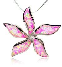 925 Sterling Silver Pink Fire Opal Starfish Flower Beautiful Big Pendant... - $38.17