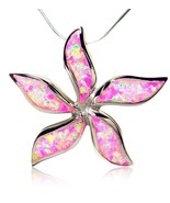 925 Sterling Silver Pink Fire Opal Starfish Flower Beautiful Big Pendant... - £28.02 GBP
