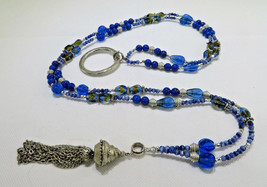 Vintage Costume Jewelry Necklace Blue Glass & Lucite & Metal Beads Penda... - $30.00