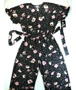 Art Class Girls Ebony Pink Floral Stars Romper Jumper Black Flowers Kids... - $24.74