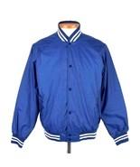 Vtg 80s Blue Windbreaker Casual Jacket Snap Up Button Mens M Retro White... - $24.75