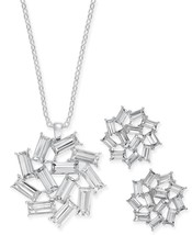 Necklace Set Charter Club Silver Plated Crystal Baguette Necklace & Earr... - $14.74