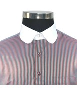 Mens Peaky Blinders style Penny collar shirt Brown stripes Round Club co... - $29.84