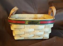 Longaberger 1993 HOLIDAY BASKET Of THANKS Basket Leather Strap Handles P... - $15.00