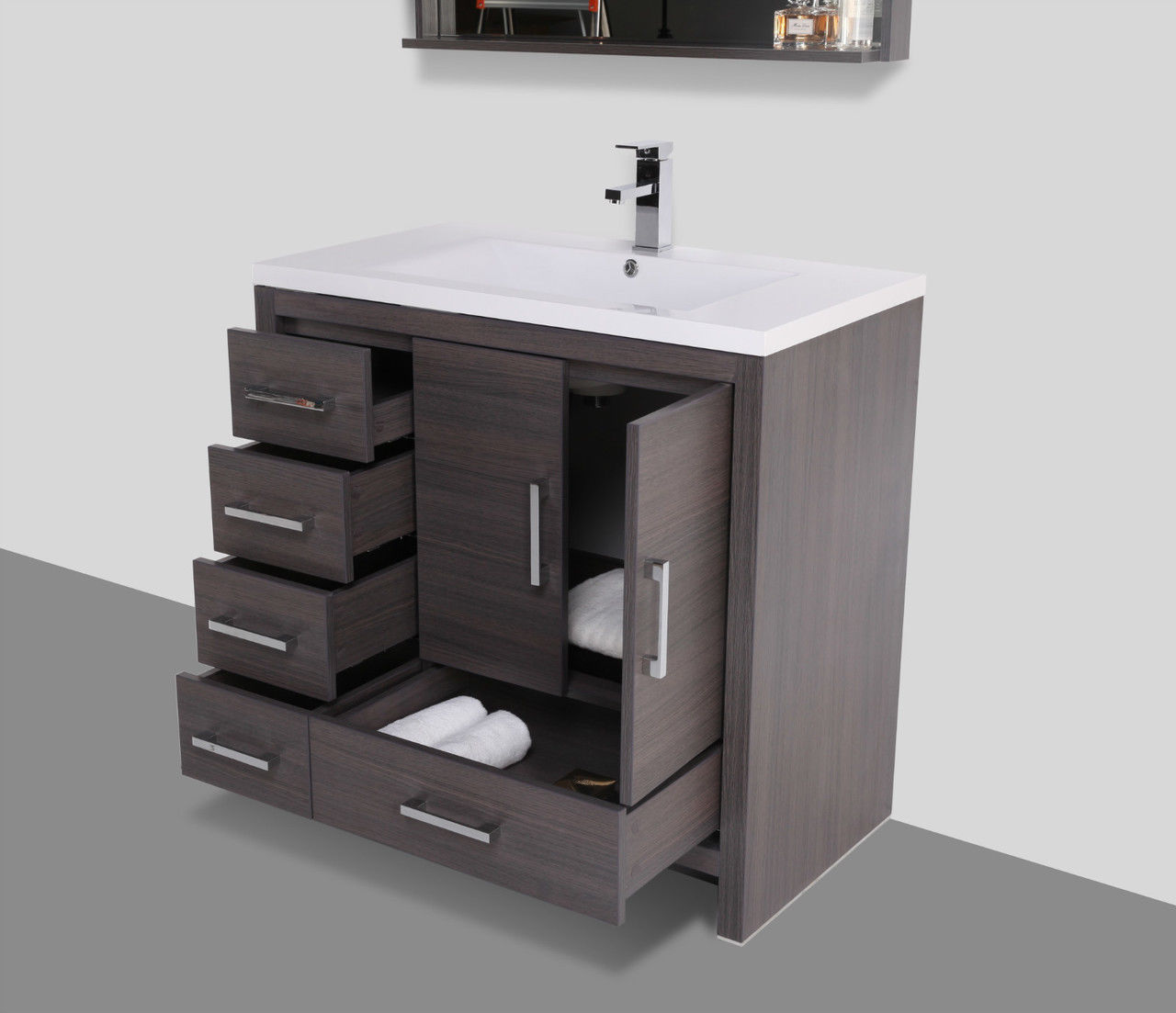 Moreno 36 gray oak modern bathroom vanity w acrylic sink - Bathroom vanity with drawers on left ...