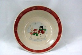 Royal Seasons 1999 Snowman With Red Band With Snowflakes Cereal Bowl - $3.46