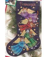 Dimensions Angel Kitty Cat Flute Harp Christmas Cross Stitch Stocking Ki... - $124.95