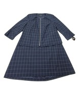 Emily Women's 2 Piece Jacket Skirt Lined Navy Blue White Check Suit 18W ... - $77.24