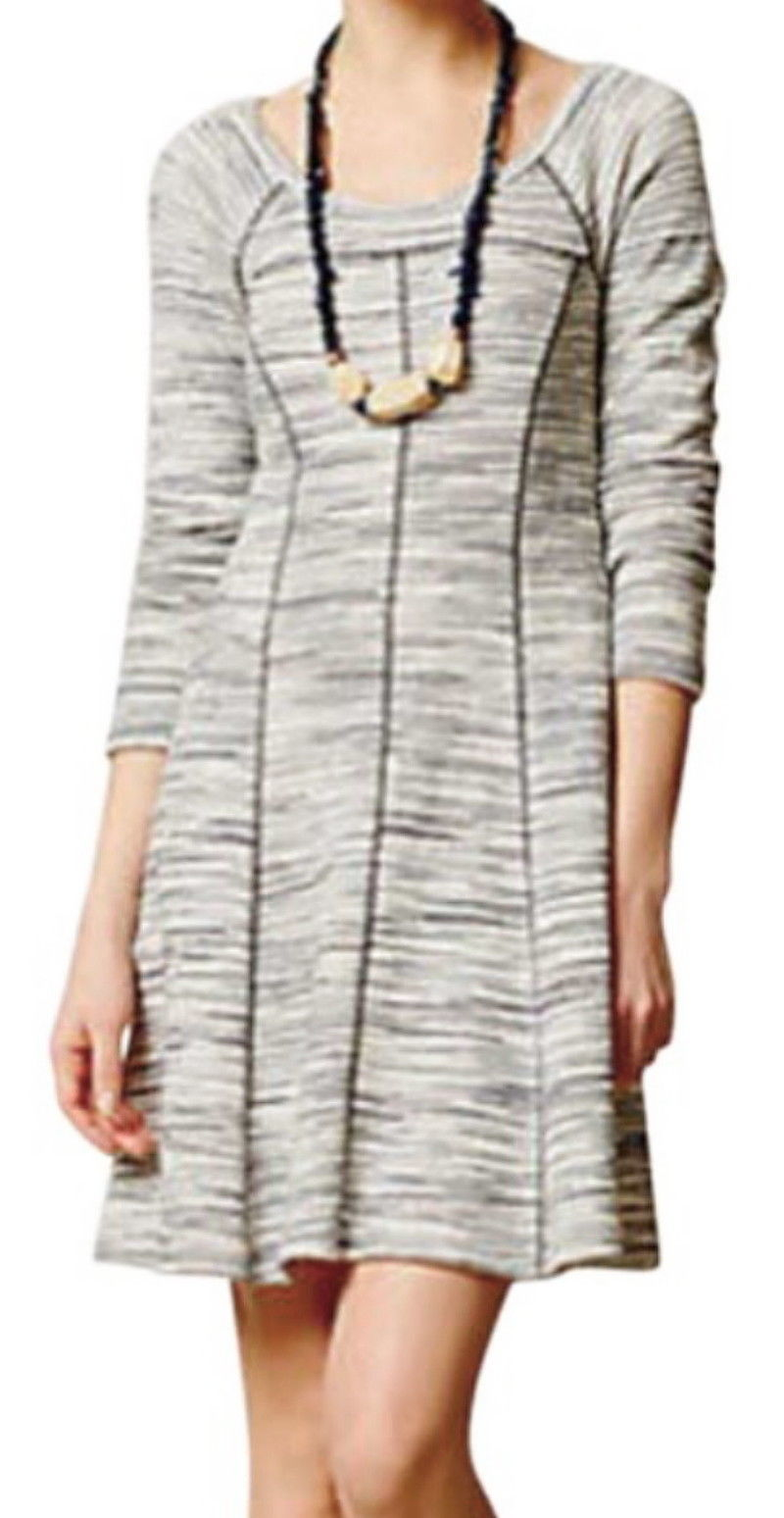 Anthropologie Blurred Lines Dress Small 2 4 Grey Tunic SOFT COMFY Versatile NWT - $67.15