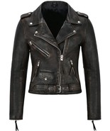 Womens Distressed Brown Gothic Cafe Racer Retro Motorcycle Leather Biker... - $128.00
