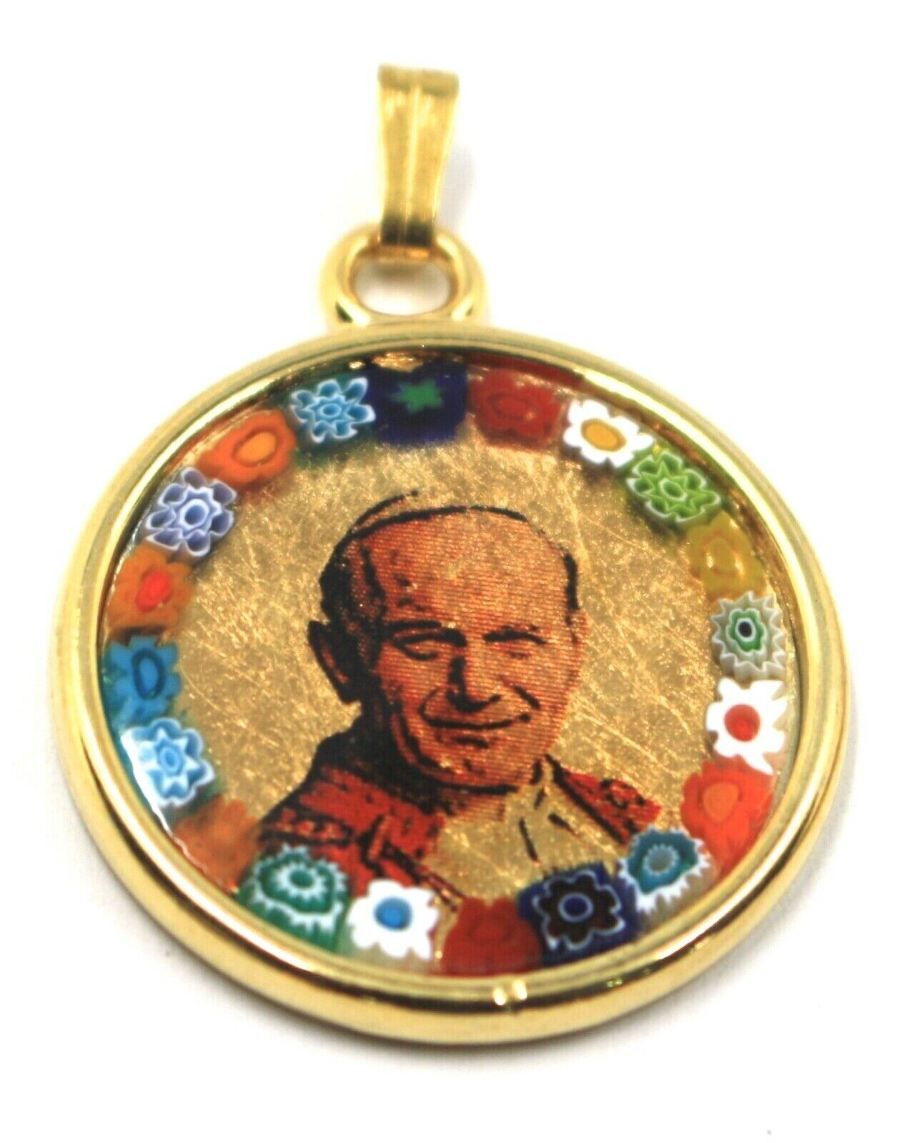 """MURANO GLASS MEDAL PENDANT, POPE JOHANNES PAULUS II, SAINT, 25mm 1"""" FLOWER FRAME"""