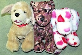 3 Build A Bear Dog Lot Yellow Lab Retriever Jonas Red Hearts Terrier Plush Stuff - $18.69