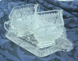 Vintage Pressed Glass Floral Tray, Creamer and Sugar Bowl Set Holidays - $23.36