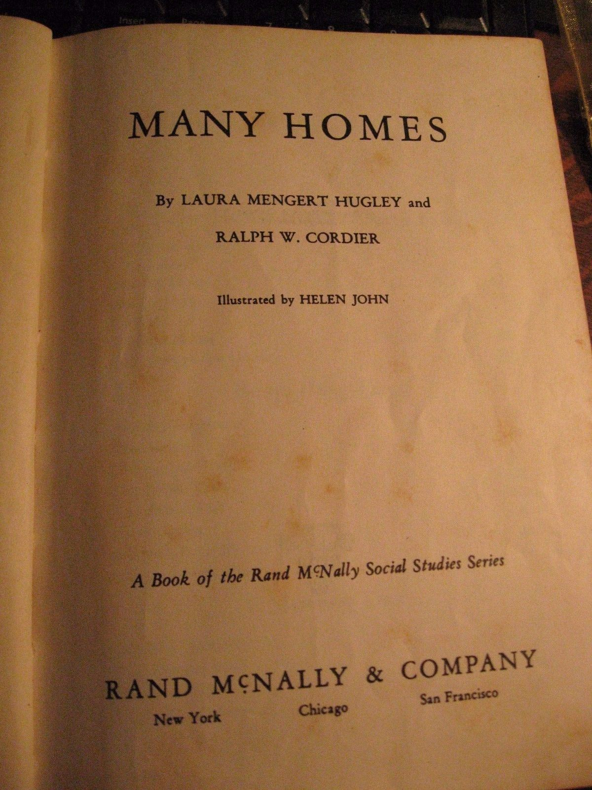 Many Homes 1950 Book - Vintage Rand McNally Social Studies Series Hugley Cordier