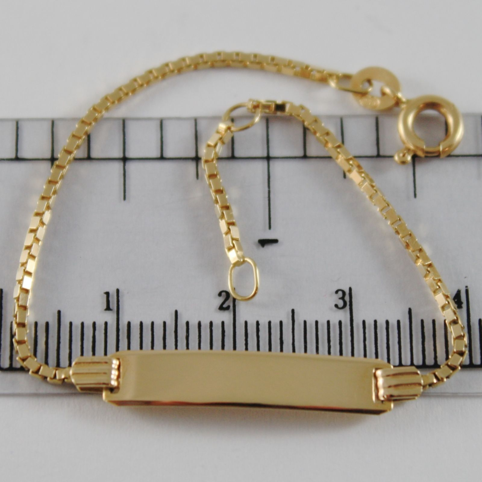 18K YELLOW GOLD KIDS BRACELET 5.90 ENGRAVING PLATE, VENETIAN MESH MADE IN ITALY