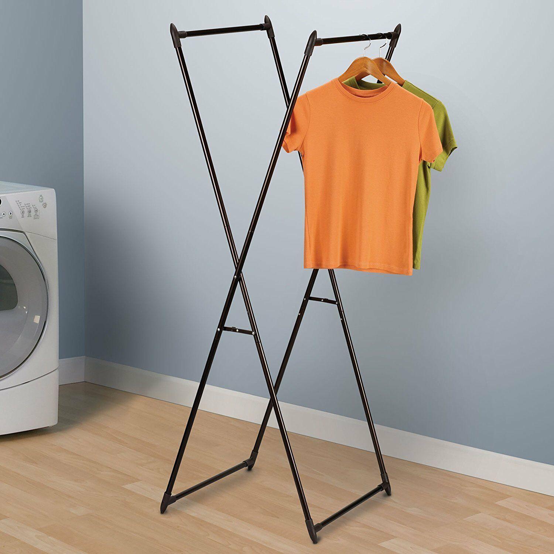 Portable Laundry Garment Hanger Wardrobe Valet Stand Rack Organizer Folding NEW
