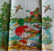 COLORFUL NOS VINTAGE *PARISIAN PRINTS* LINEN KITCHEN TOWEL ~DUCKS GEESE ... - $8.90