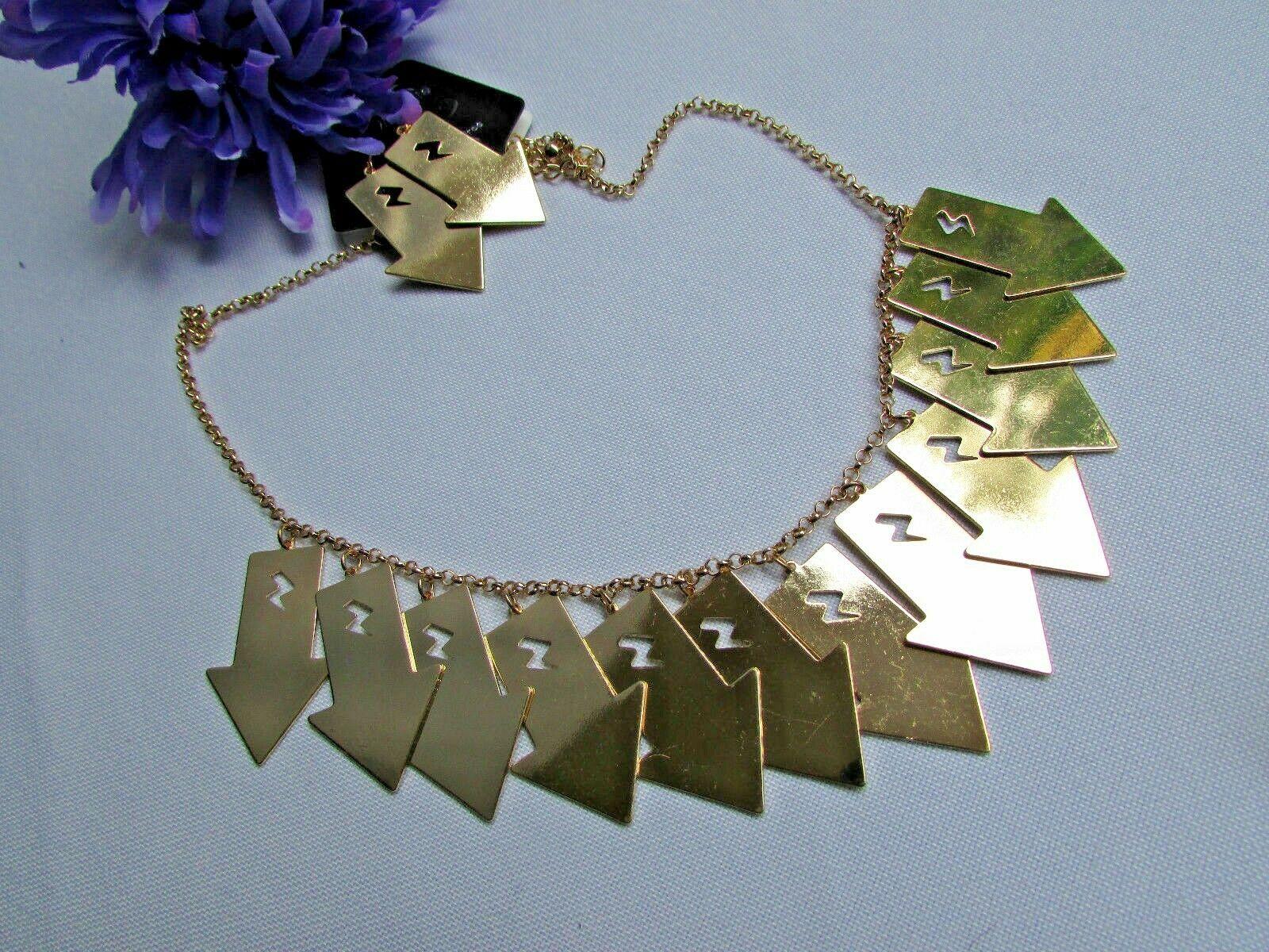Mujer Sexy Metal Dorado Lightning Flechas Encanto Moda Joyería Collar Set