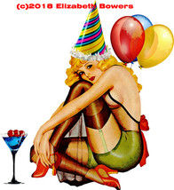 blonde pinup party girl balloons clipart art png printable art print dig... - $2.50