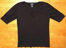 Ralph Lauren Women's Black Short Sleeve Scoop Neck Thermal Shirt - Small - $11.29