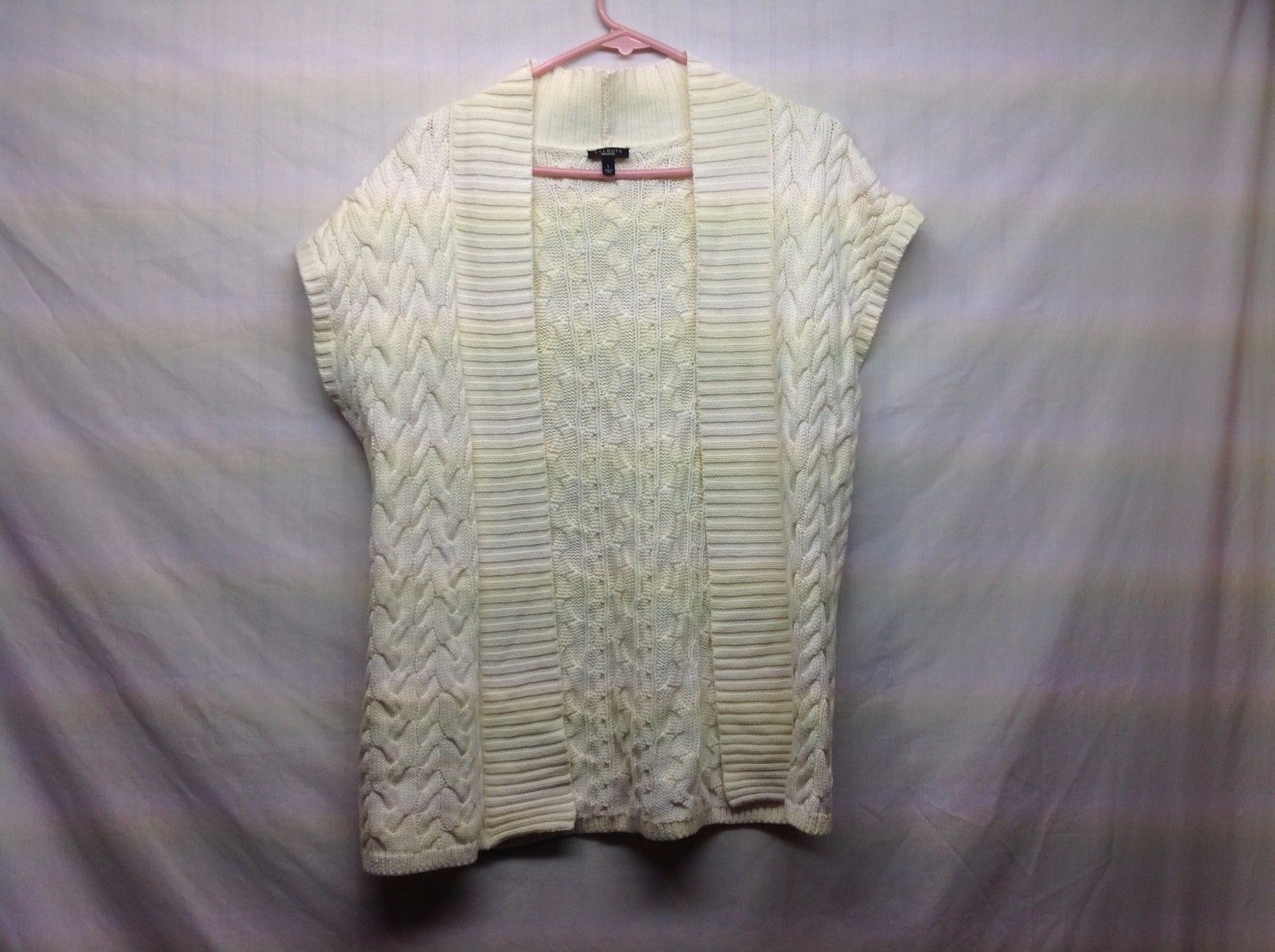 Ladies Cream Colored Short Sleeve Knit Cardigan Sweater by Talbots Sz LG