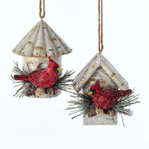 Cardinal on Birch Birdhouse Ornament - $14.95