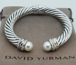 David Yurman Sterling Silver Pearl And Diamonds CROSSOVER10MM Cable Bracelet - $749.99