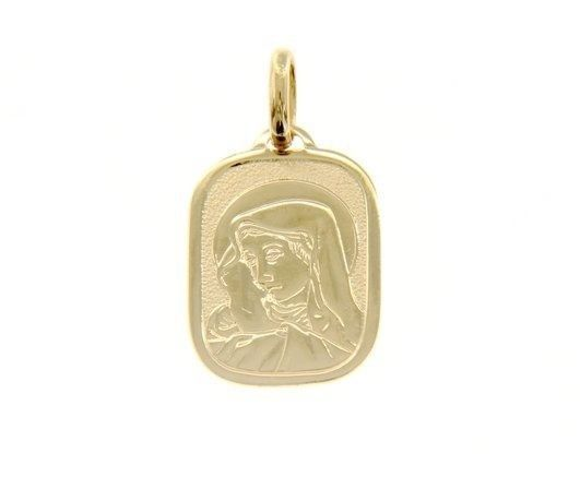 18K YELLOW GOLD PENDANT RECTANGULAR MEDAL VIRGIN MARY 20MM ENGRAVABLE ITALY MADE